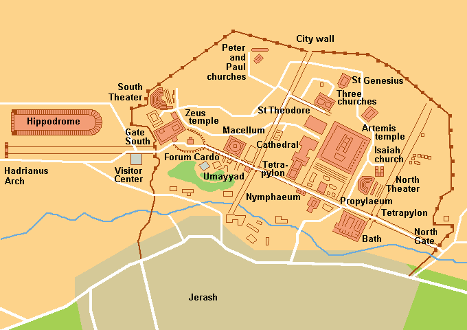 Map of Jerash