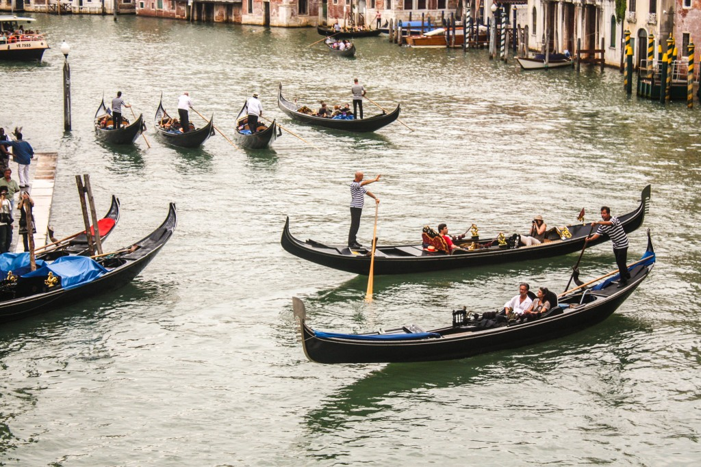 Busy canal with Gondolas