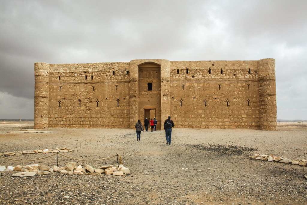 Tourists going inside Qasr Kharana