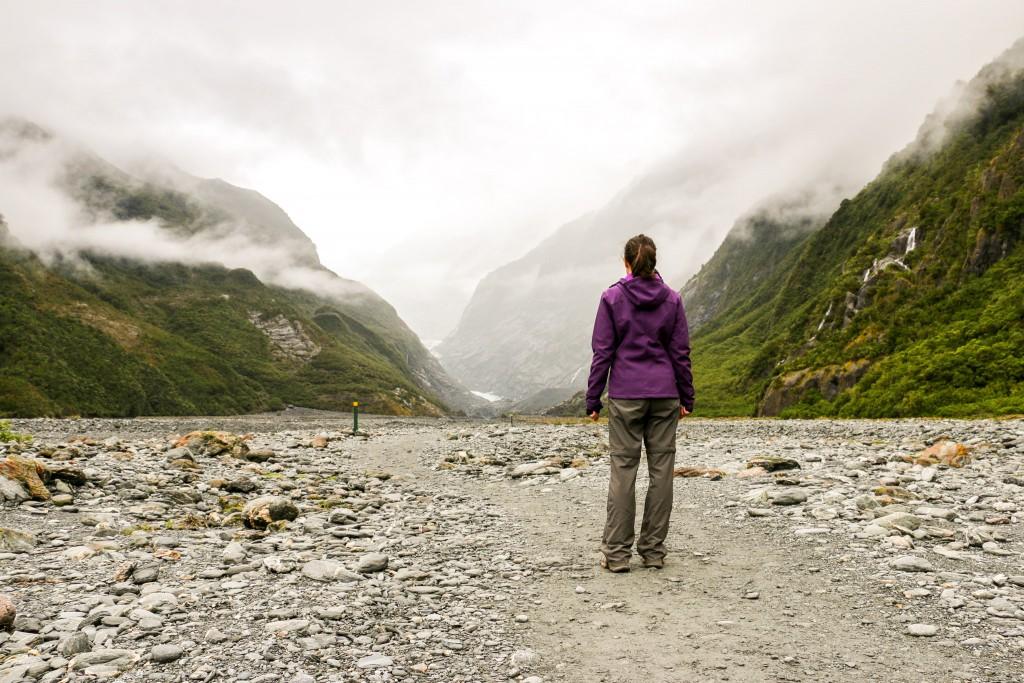 Cristina admiring Franz Josef glacier valley