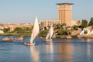 Fellucas sailing the Nile in Aswan, Egypt