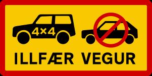 Icelandic traffic signs - Illfær vegur